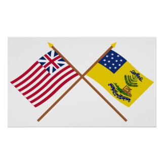Crossed Grand Union and Bucks of America Flags Poster