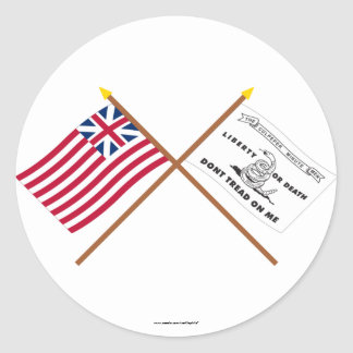 Crossed Grand Union and Culpeper Flags Classic Round Sticker