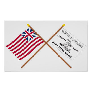 Crossed Grand Union and Culpeper Flags Poster