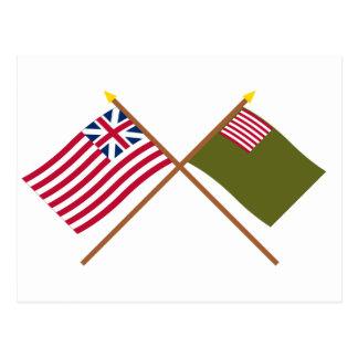 Crossed Grand Union and Delaware Militia Flags Postcard