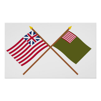 Crossed Grand Union and Delaware Militia Flags Posters