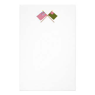 Crossed Grand Union and Delaware Militia Flags Stationery Paper