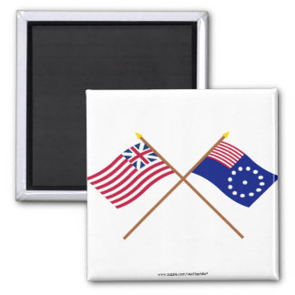 Crossed Grand Union and Easton Flags Refrigerator Magnets
