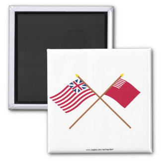 Crossed Grand Union and Forster-Knight Flags 2 Inch Square Magnet