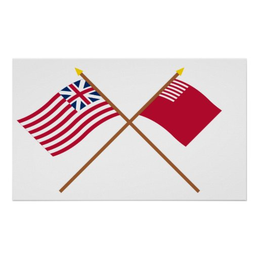 Crossed Grand Union and Forster-Knight Flags Poster