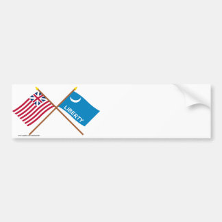 Crossed Grand Union and Fort Moultrie Flags Bumper Stickers