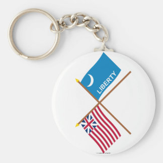 Crossed Grand Union and Fort Moultrie Flags Keychains