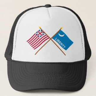 Crossed Grand Union and Fort Moultrie Flags Trucker Hat