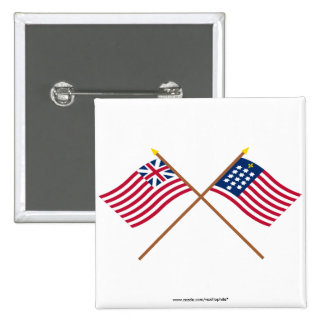Crossed Grand Union and French Alliance Flags Button
