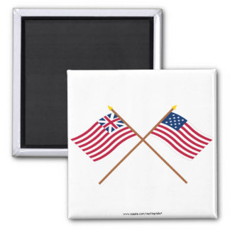 Crossed Grand Union and Frigate Alliance Flags 2 Inch Square Magnet