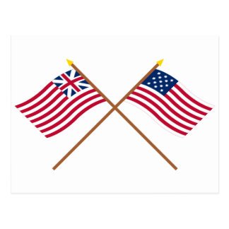 Crossed Grand Union and Frigate Alliance Flags Postcard