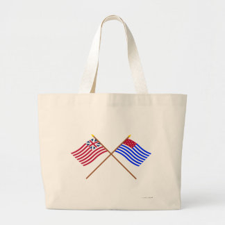 Crossed Grand Union and Ft Mercer Flags Canvas Bags