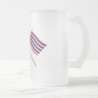 Crossed Grand Union and Ft Mifflin Flags Frosted Glass Beer Mug