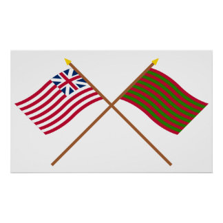 Crossed Grand Union and Ft Sackville Flags Poster