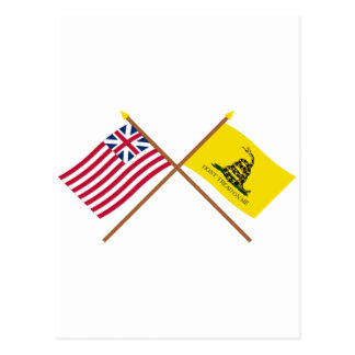 Crossed Grand Union and Gadsden Flags Postcard