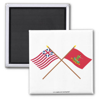 Crossed Grand Union and Hanover Associators Flags 2 Inch Square Magnet