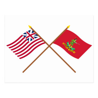 Crossed Grand Union and Hanover Associators Flags Postcard