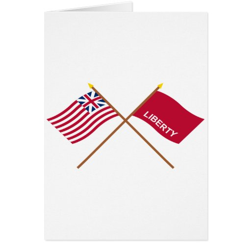 Crossed Grand Union and Huntington Flags Greeting Card