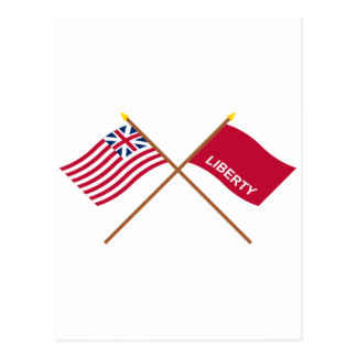 Crossed Grand Union and Huntington Flags Post Card