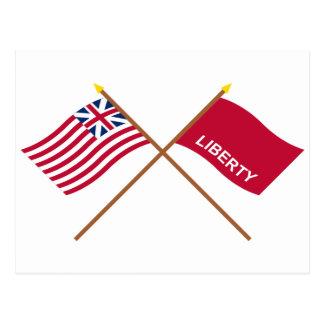 Crossed Grand Union and Huntington Flags Postcard