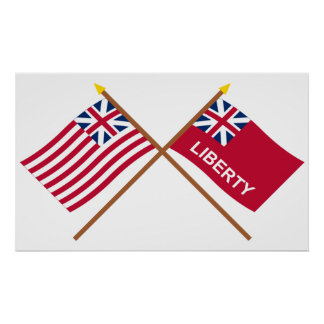 Crossed Grand Union and Liberty Flags Posters