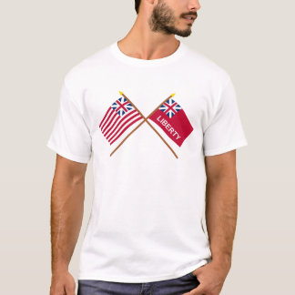 Crossed Grand Union and Liberty Flags T-Shirt