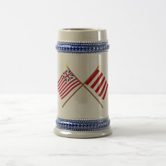 Crossed Grand Union and Liberty Tree Flags Beer Stein