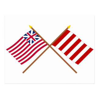 Crossed Grand Union and Liberty Tree Flags Postcard
