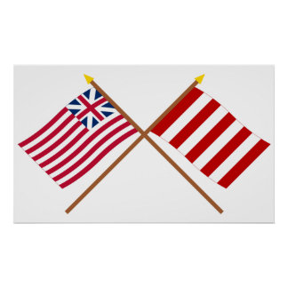 Crossed Grand Union and Liberty Tree Flags Poster