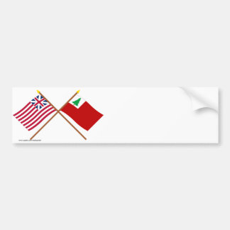 Crossed Grand Union and New England Flags Bumper Sticker