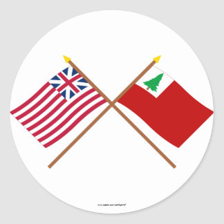 Crossed Grand Union and New England Flags Classic Round Sticker