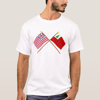 Crossed Grand Union and New England Flags T-Shirt