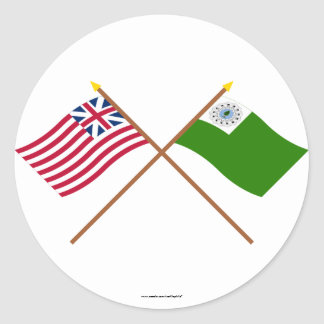 Crossed Grand Union and Newburyport Flags Stickers