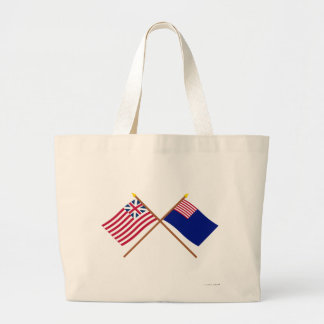 Crossed Grand Union and Pennsylvania Navy Flags Large Tote Bag