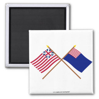 Crossed Grand Union and Pennsylvania Navy Flags Refrigerator Magnet