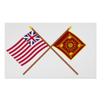 Crossed Grand Union and Pulaski Flags Posters