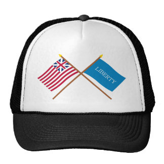 Crossed Grand Union and Schenectady Liberty Flags Mesh Hats