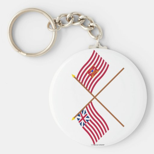 Crossed Grand Union and Sheldon's Horse Flags Key Chains