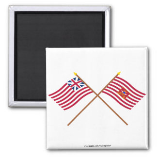 Crossed Grand Union and Sheldon's Horse Flags Fridge Magnets