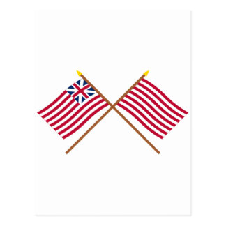 Crossed Grand Union and Sons of Liberty Flags Postcard
