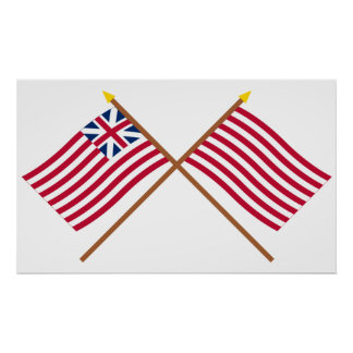 Crossed Grand Union and Sons of Liberty Flags Poster