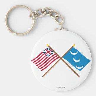 Crossed Grand Union and South Carolina Militia Fla Key Chain