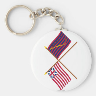 Crossed Grand Union and South Carolina Navy Flags Key Chains