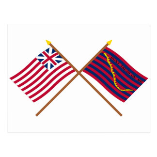 Crossed Grand Union and South Carolina Navy Flags Postcard