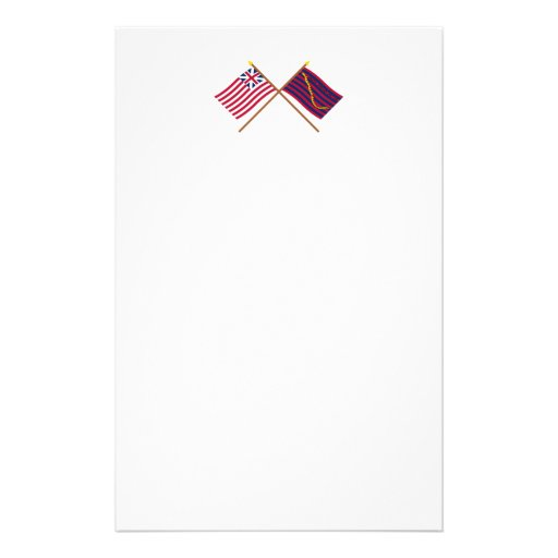 Crossed Grand Union and South Carolina Navy Flags Custom Stationery
