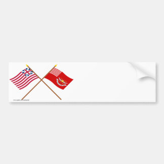 Crossed Grand Union and Tallmadge's Dragoons Flags Bumper Sticker