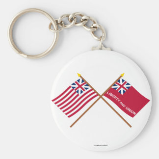 Crossed Grand Union and Taunton Flags Basic Round Button Keychain