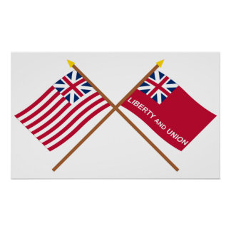 Crossed Grand Union and Taunton Flags Print