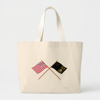 Crossed Grand Union and Veterans Exempt Flags Tote Bags