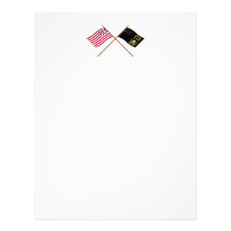 Crossed Grand Union and Veterans Exempt Flags Letterhead